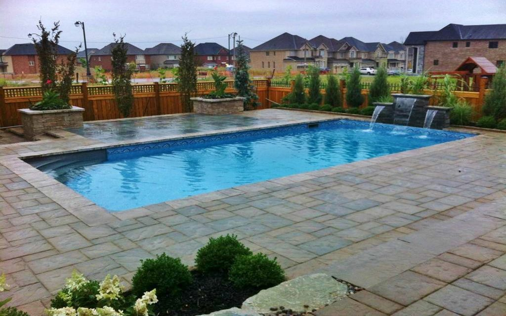 Modern and beautiful waterfall and pool design in richmond - Centennial swimming pool richmond hill ...